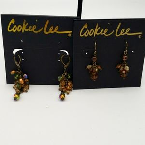 Cookie Lee NWT Bundle of Two Earring Sets-Faceted Glass-Pierced-Autumn Colors